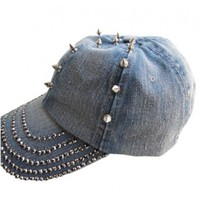 Punk Denim Baseball Cap with Spike and Diamante Embellishment