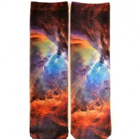 Retro Cotton Blend Socks with Galaxy Print
