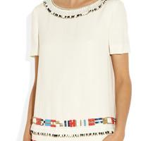 Tory Burch | Jace embellished silk-georgette top | NET-A-PORTER.COM