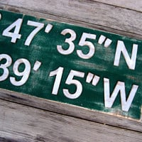 Latitude Longitude Sign - Wedding Gift - Custom Sign - Coordinates - Rustic Sign