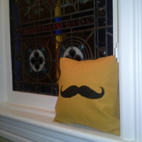 Mustache or Moustache In Mustard 12inch Pillow Sham