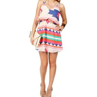 FuchsiaMulti Tribal 2 Strap Dress