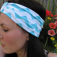 Chevron Turband Headwrap, Aqua and white Chevron, Jersey Wide Headband, Hair wrap