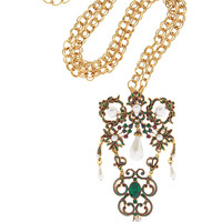 Oscar de la Renta Gold-plated crystal necklace – 50% at THE OUTNET.COM
