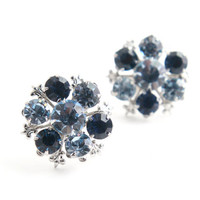 Vintage Blue Rhinestone Clip On Earrings - Silver Tone Glass Cluster Costume Jewelry / Screw Back Summer Accessory