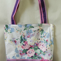 Reversible Cotton Tote Deep Purple Floral Cotton with Bow Portion of Proceeds to Charity