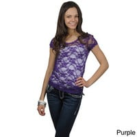 Journee Collection Juniors Lace Cap Sleeve Top | Overstock.com