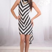 Black & White Chevron High-Low Dress