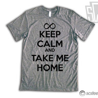 Keep Calm and Take Me Home - One Direction Vintage Fit Triblen Shirt - All Sizes Available - 1D - Item 012