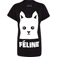 Black feline cat print t-shirt - print t-shirts / vests - t shirts / vests / sweats - women