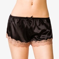 Lace Trim Satin PJ Shorts