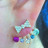 Bow and Rainbow Rhinestone Wrapping Ear Studs | LilyFair Jewelry