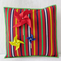 "Children Cushion - Kids Room Decor Cushion Cover - Kids Pillowcase - Throw Pillow Cover - Pinwheels Handmade Cushion -  ""Os Cataventos"""