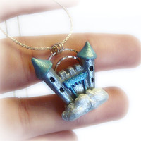 Castle in the sky polymer clay pendant by UraniaArt on Etsy