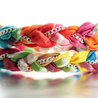 Chiffon Multi-Colored Chain Double Wrap Bracelet