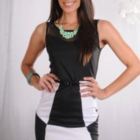 Black and White Dress with Mesh Sweetheart Neckline