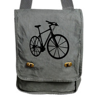 BICYCLE bmx Messenger Bag Gray Canvas Messenger Bike Bag Field Bag