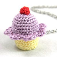 Grape Flavored Crochet Cupcake Necklace - Whimsical & Unique Gift Ideas for the Coolest Gift Givers