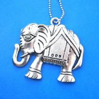Abstract Elephant Animal Charm Necklace in Silver