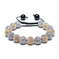 Bling Jewelry Macrame Bead Bracelet Unisex Swarovski Golden Crystal CZ Black Onyx Balls 12mm