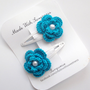 Turquoise Flower Hand Crocheted Hair Clip