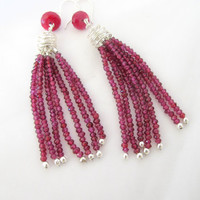 Purple tassel earrings, rhodolite garnet and ruby dangle earrings, fine jewelry
