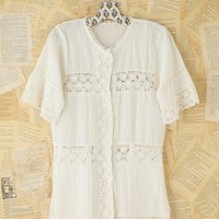 Free People Vintage Cotton and Crochet Top