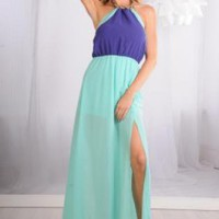 Mint Green and Purple Maxi Dress with Chain Halter