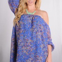 Blue Off the Shoulder Floral Tunic