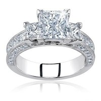 2.20 Ct Princess Cut Certified Diamond Three 3 Stone Engagement Ring 14k Gold Center 0.70 Carat