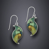 Peacock Earrings by Dawn Estrin: Silver Earrings - Artful Home