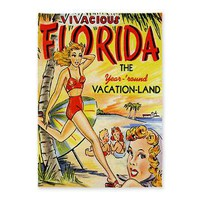 Vintage Florida Vacation Land 5'x7' Area Rug> Korpita Vintage and Original Art Rugs> Rebecca Korpita Coastal Design