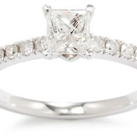 Kobelli 3/4 cttw Princess and Round Diamond Engagement Ring, Size 7