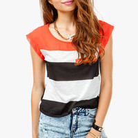 Red Contrast Stripe Tee