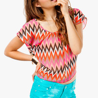 Abstract Zig Zag Tie Back Tee
