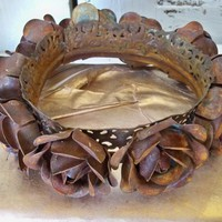 Large metal rose crown handmade for statues or French Santos shelf sculpture