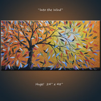 Amy Giacomelli Original Large Abstract Painting Modern Contemporary Landscape Tree Sky  .. red yellow blue green black ... 24 x 48