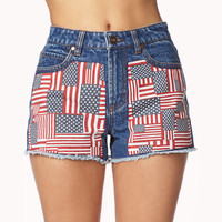 American Flag Patch Denim Shorts | FOREVER 21 - 2047445316