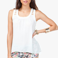 Chiffon Ladder Back Detail Tank