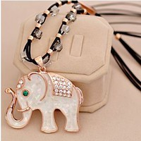 Golden Elephant Rhinestone Fashion Necklace | LilyFair Jewelry