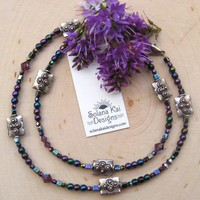 Swarovski Crystal Czech Glass Silver-Plated Copper Necklace in Purple