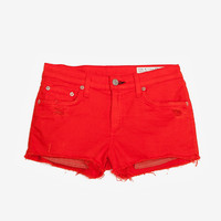 rag & bone/JEAN EXCLUSIVE Mila Destroyed Cut Offs: Fire Engine-Just In-Sale-Categories- IntermixOnline.com