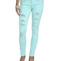Bright Color Destroyed Skinny Jean | Shop Just Arrived at Wet Seal