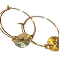 gold directus - gold coin hoops by lilla stjarna - gifts under 25 - gold coin earrings - gold filled earrings -Valentine's Day