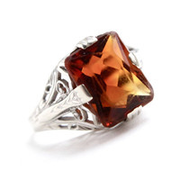Antique 14K White Gold Filigree Ring - Art Deco 1920s Size 4 1/2 Orange Stone Great Gatsby Style Fine Jewelry / Dark Amber Mandarin