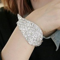 Angel's Wing Rhinestone Bangle | LilyFair Jewelry