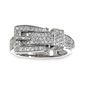 14k White Gold, Diamond Buckle Right Hand Ring (0.50 ctw)