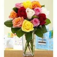 One Dozen Vibrant Birthday Roses (with FREE glass vase) - Flowers:Amazon:Grocery & Gourmet Food