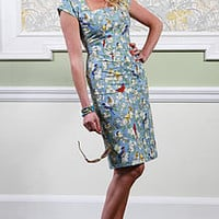 Bluebirds Pencil Wiggle Dress