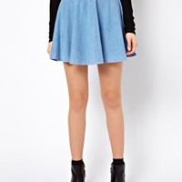 River Island Denim Jersey Skater Skirt at asos.com